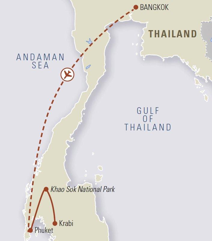 Kort yfir Draumar suður Thailands