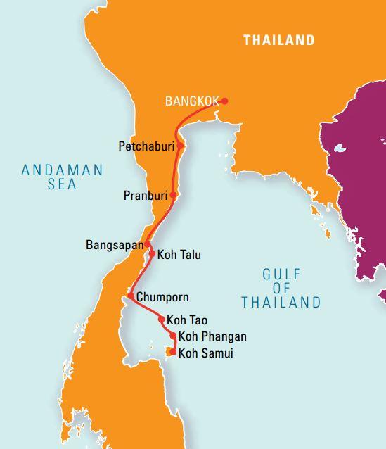 Kort yfir Eyjahopp í Thailandsflóa